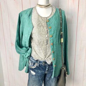 Flax Linen Button front top jacket ~green